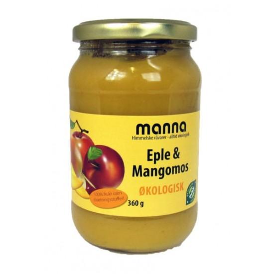 Eple- og mangopuré u/sukker, 360 g, økologisk, Manna