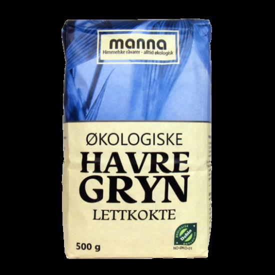 Havregryn, lettkokte, 500 g, økologisk, Manna