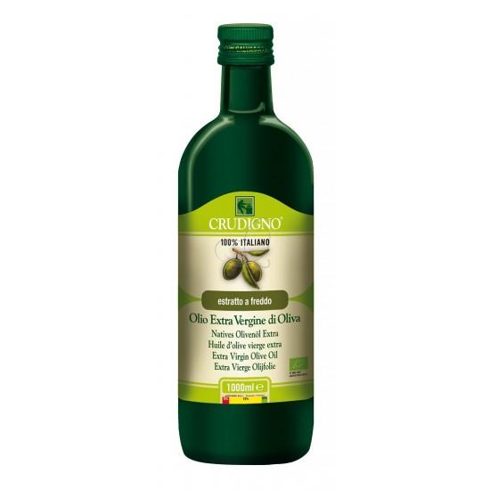 Crudigno extra virgin økologisk olivenolje 1l flaske