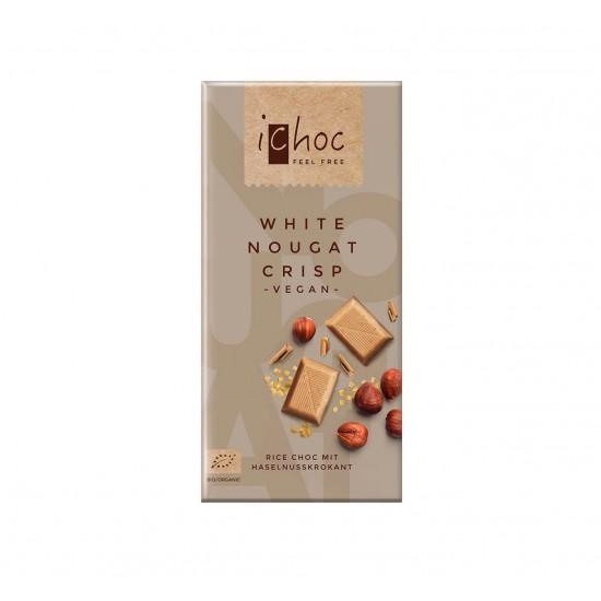 iChoc Økologisk lys sjokolade, hvit nougat m hasselnøttkrisp, vegan