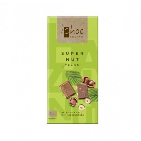 iChoc Økologisk lys sjokolade m/hasselnøtter, vegan