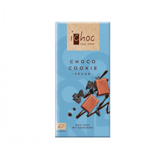 iChoc Økologisk lys sjokolade m/kakaokjeks, vegan