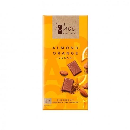 iChoc Økologisk lys sjokolade m/mandler & appelsin, vegan