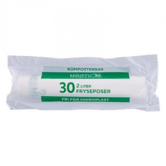 Komposterbare Fryseposer, 2L, 30 stk, Maistic