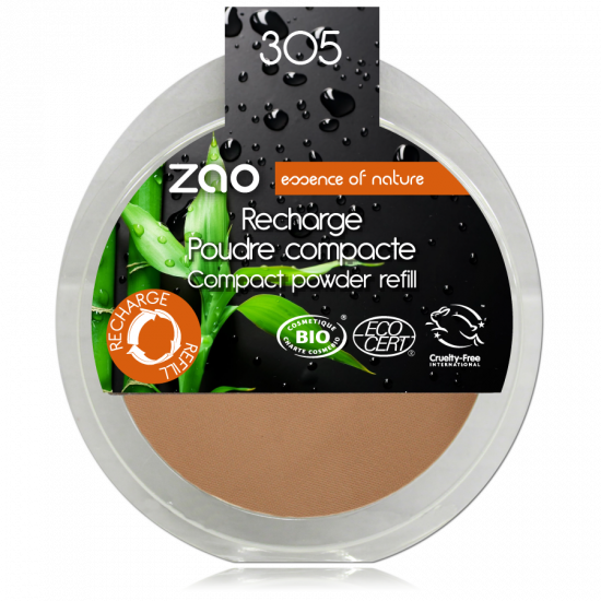 ZAO Compact Powder 302 Milk Chocolate – Refill