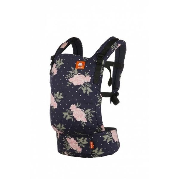 Bæresele i merket Tula free-to-grow med mønster blossom. Dette er en ergonomisk riktig bæresele som er håndlaget i 100% bomull. Sertifisert med ØkoTex. Bildet er tatt skrått forfra.
