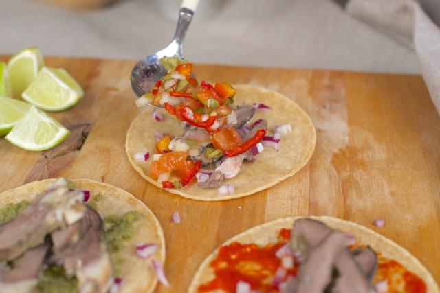 taco med lammehjerte og fermentert salsa