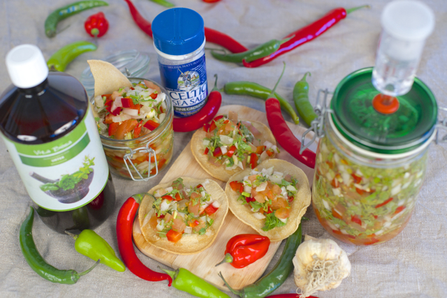 Hjemmelaget salsa tostadas økologisk